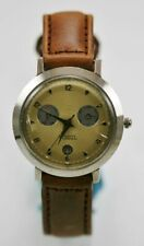 Fossil Watch Womens Month Day Date Stainless Silver Leather Brown Gold Quartz