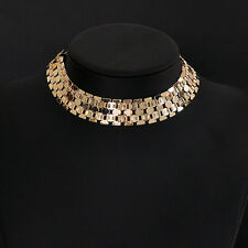 Gothic Women Metal Necklace Chain Link Wide Silver Gold Tone Choker Jewelry