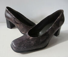 K+S shoes ° chice PUMPS Gr. 38 braun Schlangenleder-Optik Leder Damen Schuhe TOP