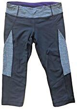 LULULEMON Run Fast Crop Pants Black Gray & Lolo Purple size 6 EUC Speed Running
