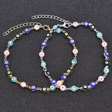 Turkish Charm Evil Eye Chain Bracelet Rainbow Enamel Vintage Lucky Jewelry New