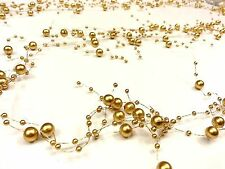 2m GOLD Acrylic PEARL Garland Spray Cake Floral Decoration Wedding Supplies