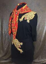 Louviere Dolman sleeve turtleneck dress Skirt Silk Scarf Tiger Cougar Brooch Lot