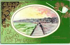 ST PATRICK'S DAY  GREETING   Postcard  Embossed View of TRAMORE Ireland   c1910s