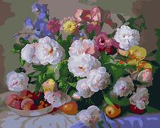 Malen nach Zahlen 40 x 50 cm Komplettset mit Holzrahmen Blumen Rosen G339