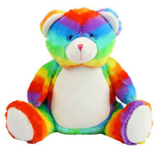 MUMBLES ZIPPIE RAIN BOW BEAR  EMBROIDERED FREE  NAME/DATE OF BIRTH ETC
