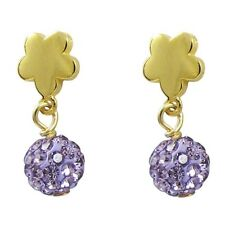 Gold-Tone Silver Shamballa Inspired Lavender Crystal Flower Earrings