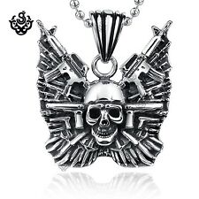 Silver skull with guns pendant stainless steel task force gunner necklace