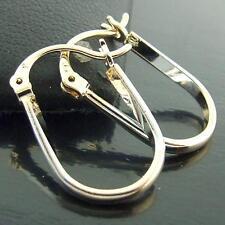 HOOP DROP EARRINGS GENUINE REAL 18K G/F MULTI-TONE GOLD DESIGN