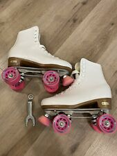 New listing Vintage Chicago Roller Skates Quads Women's Size 9 White And Pink MINT!