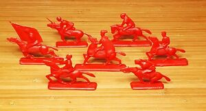 VINTAGE TOY SOLDIERS REVOLUTION RED CAVALRY 7 PCS.1970's EARLY VERSION USSR