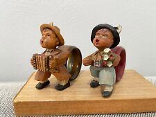 Vintage Italy Italian Anri Wood Carved Pair of Napkin Rings Boys Singing