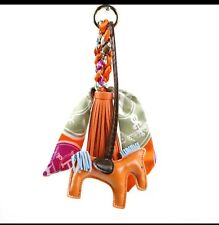 Designer Inspired Orange Rodeo Horse Scarf & Tassel Bag Charm Keychain Keyring