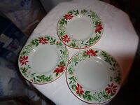 Set of 3 American Atelier Holiday Christmas Floral Bread Plates