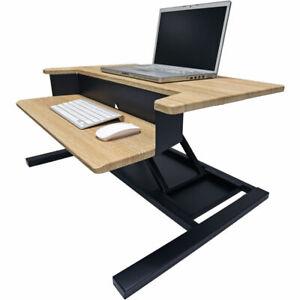 "Luxor Level Up Pro 32"" Adjustable Standing Desk Converter LVLUP PRO32, White Oak"