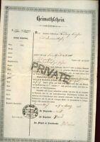 1852-1854 KIRCHER Family Documents / Letters - German / Swiss / 2 Docs/2 Letters