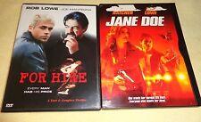 FOR HIRE & JANE DOE-2 movies-ROB LOWE, JOE MANTEGNA, TERI HATCHER-Thrillers