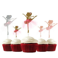 2Pcs Cake Toppers Cupcake Glitter Dancing Girl Ballerina Wedding Party Decor 3C
