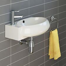 Ceramic Modern Cloakroom Corner Basin Sink Oval Wall Hung Left Hand 450mm