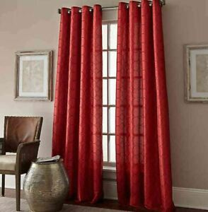 "Manhattan Grommet Top Embroidered 63"" Window Curtain Panel in Red"