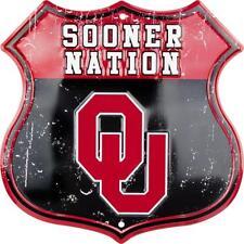 "University of Oklahoma Sooners Sooner Nation 11"" Shield Metal Sign Embossed"