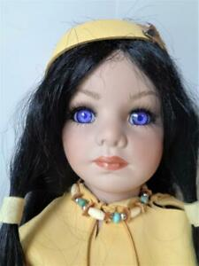 """34"""" Native American Indian Porcelain Doll Violet Eyes Leather Suede Costume"""