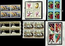 US 1984 6 BLOCKS OF 4 MNH STAMPS - SHIP SAIL, DUCK, SWAN, FLOWER, OLYMPICS, etc.