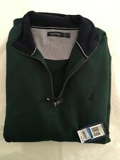 "Nautica men's XL half zip pullover 69 cotton, 31 poly ,""Mack Green"" (dark green)"