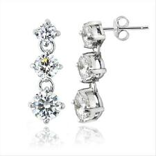 Sterling Silver Cubic Zirconia Three Stone Dangle or Drop Earrings
