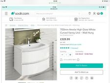 700mm Amelie High Gloss White Curved Vanity Unit - Wall Hung