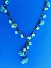 Turquoise and Blue Glass Bead Choker Y Necklace Metal Wire