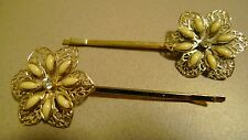 Pair of Gold Toned Floral Bobby Pins for Dance Competitions Etc.
