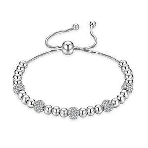Edelstahl Damen Armband mit Cubic Zirkonia Kugelarmband Silber Kugel Armkette