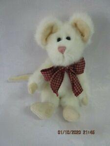 "BOYDS BEARS-Mouse-BRIE MOUSKI-New Face-White Faux Fur-Velour Paws-6""-Pre ENESCO"