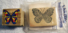 2 Stamps - Butterfly Wood Mounted Rubber Stamps - Both New