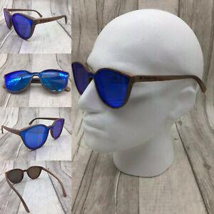 Men's Walnut Wood Frame Blue Mirror One Piece Sunglasses 100% UV 400