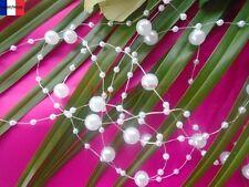 ***6M GUIRLANDE DE PERLE*** (8mmX2mm)BLANCHE décoration de table mariage baptême