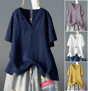 Womens V Neck Short Sleeve Casual Cotton Linen Tops Baggy Shirt Blouse Plus size