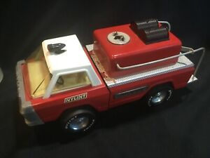 1960's Nylint Ford 8100 Suburban Pumper Fire Truck Pressed Steel Toy Cab Over