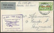 NEW ZEALAND 1932 5d on 3d Air on First Flight cover to Greymouth.