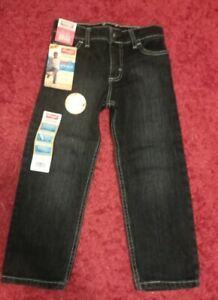 NWT Wrangler Athletic Jeans sz 5 Adjust fit waistband Dark Black Wash Blue Denim
