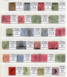 Gibraltar 1886-1901 Freimarken gestempelt aus Sammlung (E06)