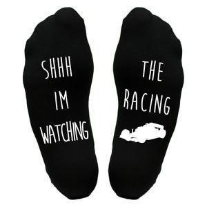 Watching The Racing 1  Sole Socks Funny Christmas Gift Idea Present Dad Grandad