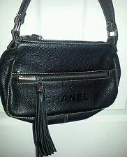 Chanel black leather fringed tassle rare find handbag vtg ? Chanel on front