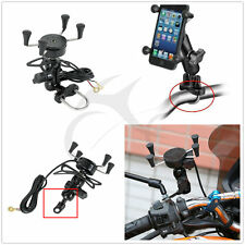 Motorcycle Fork Stem Mount Universal X-Grip Cell Phone Holder W/ USB Charger New