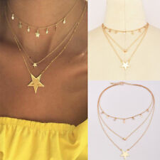 Fashion Multilayer Gold Chain Choker Star Crystal Pendant Necklace Women Jewelry