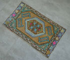 """Vintage Distressed Small Area Rug Hand Knotted Oushak Rugs Yastik -1'7""""x2'7"""""""