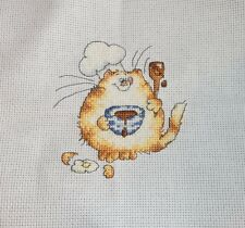 MARGARET SHERRY - CHEF CHOCOLATE MIX CAT - COMPLETED CROSS STITCH (G4062)