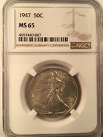 1947 Walking Liberty NGC MS65 50C Silver Half Dollar Uncirculated US Coin MS 65