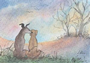 Greyhound whippet dog orig ACEO ATC art card watch friends backs Susan Alison